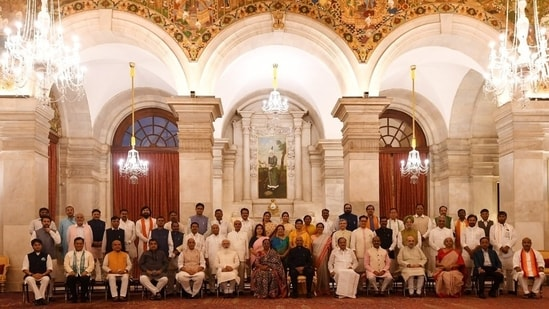 President of India Ram Nath Kovind, Prime Minister Narendra Modi with newly inducted ministers.(SOURCED)
