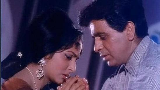 Waheeda Rehman and Dilip Kumar have worked together in films such as Dil Diya Dard Liya (1966), Ram Aur Shyam (1967) and Aadmi (1968).(HT archive)