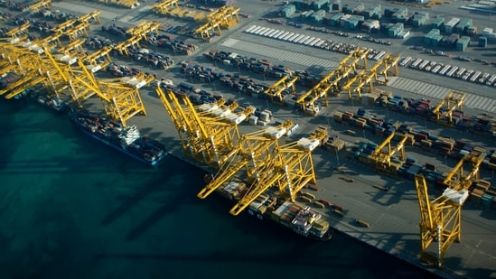 Container ships dock at the Dubai Port in the Jebel Ali Free Zone about 40 kilometers (25 miles) south of Dubai, United Arab Emirates.(AP)