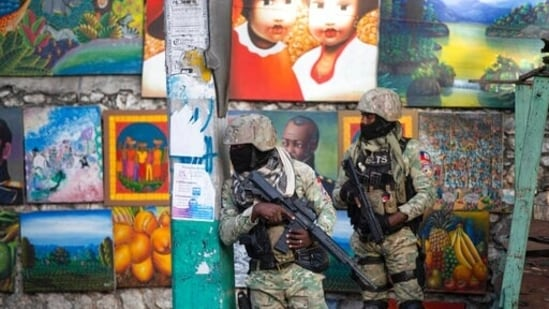 Soldiers patrol in Petion Ville, the neighbourhood where the late Haitian President Jovenel Moise lived in Port-au-Prince, Haiti.(AP)