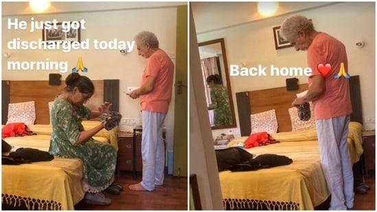 Naseeruddin Shah and Ratna Pathak Shah seen at their home.