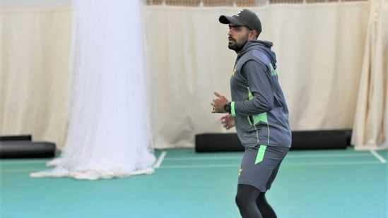 Pakistan captain Babar Azam (in frame) reveals team's reaction to Covid outbreak in England camp.(TWITTER)