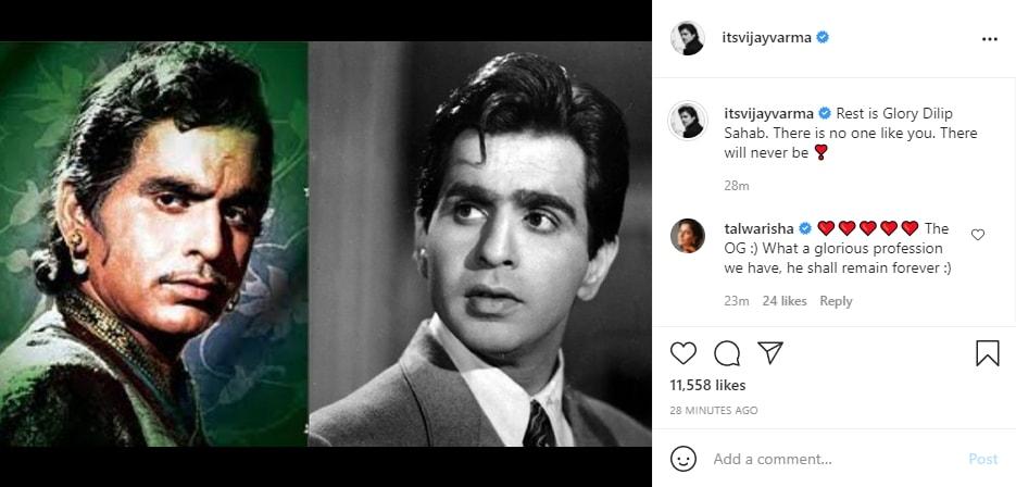 अभिनेता विजय वर्मा ने इंस्टाग्राम पर दिवंगत अभिनेता की एक तस्वीर कोलाज साझा किया।