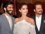 Harsh Varrdhan Kapoor poses with sister Sonam Kapoor and father Anil Kapoor.