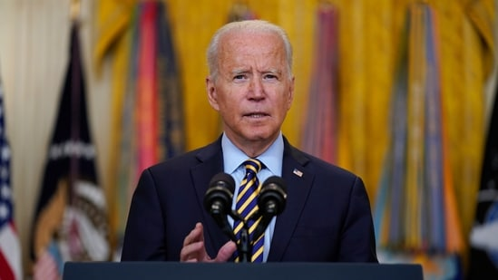 President Joe Biden speaks about the American troop withdrawal from Afghanistan, in the East Room of the White House, Thursday, July 8, 2021, in Washington. (AP)