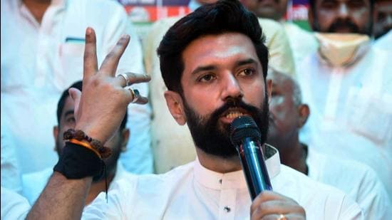 LJP leader Chirag Paswan addresses a press conference, in Patna on Tuesday, July 6. (ANI)