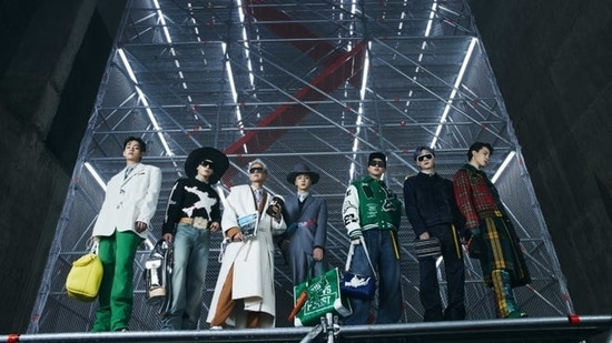 BTS appeared in the Louis Vuitton fashion film directed by South Korean filmmaker Jeon Go-woon wearing never before seen looks designed by Virgil Abloh.  In his show notes Virgil shared the inspiration behind came from the
