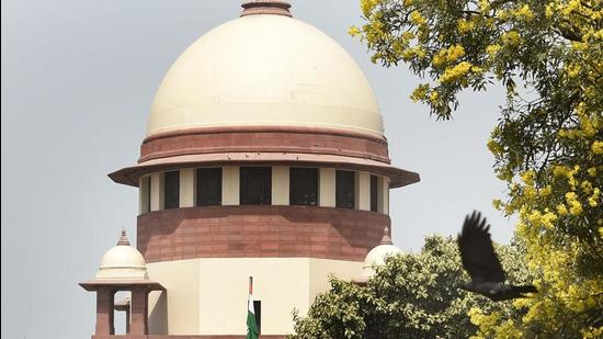 New Delhi, India - March 21, 2021: A view of the Supreme Court of India building in New Delhi, India, on Sunday, March 21, 2021. (Photo by Arvind Yadav/ Hindustan Times) (Arvind Yadav/HT PHOTO)
