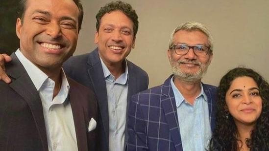 Leander Paes and Mahesh Bhupathi pose for a selfie with Nitesh Tiwari and Ashwiny Iyer Tiwari.