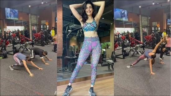 Karishma Tanna's animal flow workout at gym will pump up your exercise energies(Instagram/karishmaktanna)