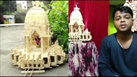 An artist from Puri, Odisha created Lord Jagannath's chariot with 975 ice cream sticks.(Images tweeted by @ANI)