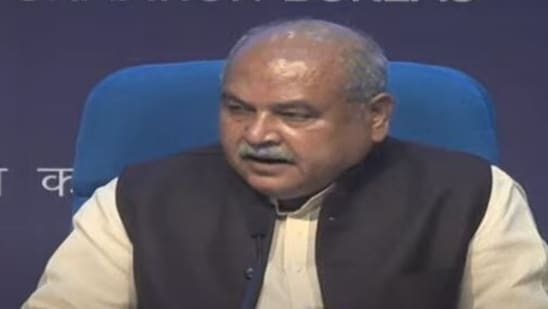 Agriculture minister Narendra Singh Tomar briefing after the Cabinet meeting on Thursday.