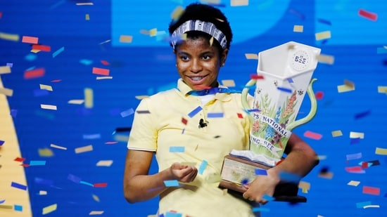 Zaila Avant-garde, 14, from New Orleans, Louisiana, holds the trophy after winning the 2021 Scripps National Spelling Bee Finals at the ESPN Wide World of Sports Complex at Walt Disney World Resort in Lake Buena Vista, Florida, U.S. July 8, 2021. REUTERS/Joe Skipper(REUTERS)