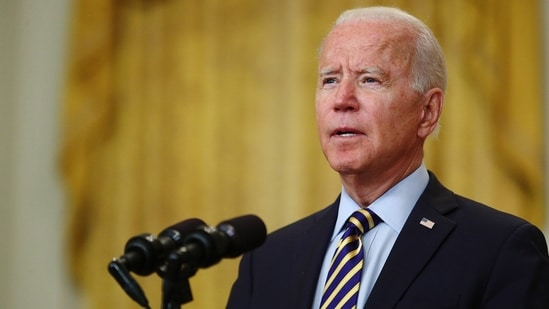 In a speech on Thursday, Joe Biden strongly defended his decision to pull US military forces out of Afghanistan.(Bloomberg)