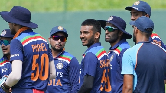 India players during intra-squad match in Sri Lanka ahead of the start of the limited overs series.(BCCI)
