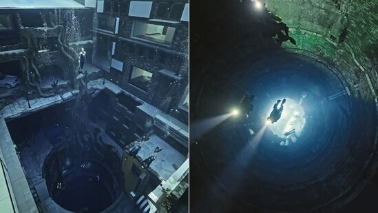 The collage shows images of the world's deepest pool in Dubai.(Instagram/@faz3)