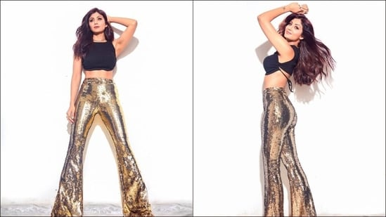 Chura Ke Dil Mera: Shilpa Shetty stuns in bold black crop top, <span class='webrupee'>₹</span>18k gold pants(Instagram/theshilpashetty)