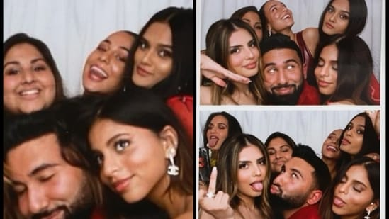 Suhana Khan poses with her friends.