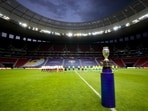The Copa America trophy is placed on the field prior to the opening match between Brazil and Venezuela at National Stadium in Brasilia, Brazil, Sunday, June 13, 2021. (AP Photo/Ricardo Mazalan)(AP)