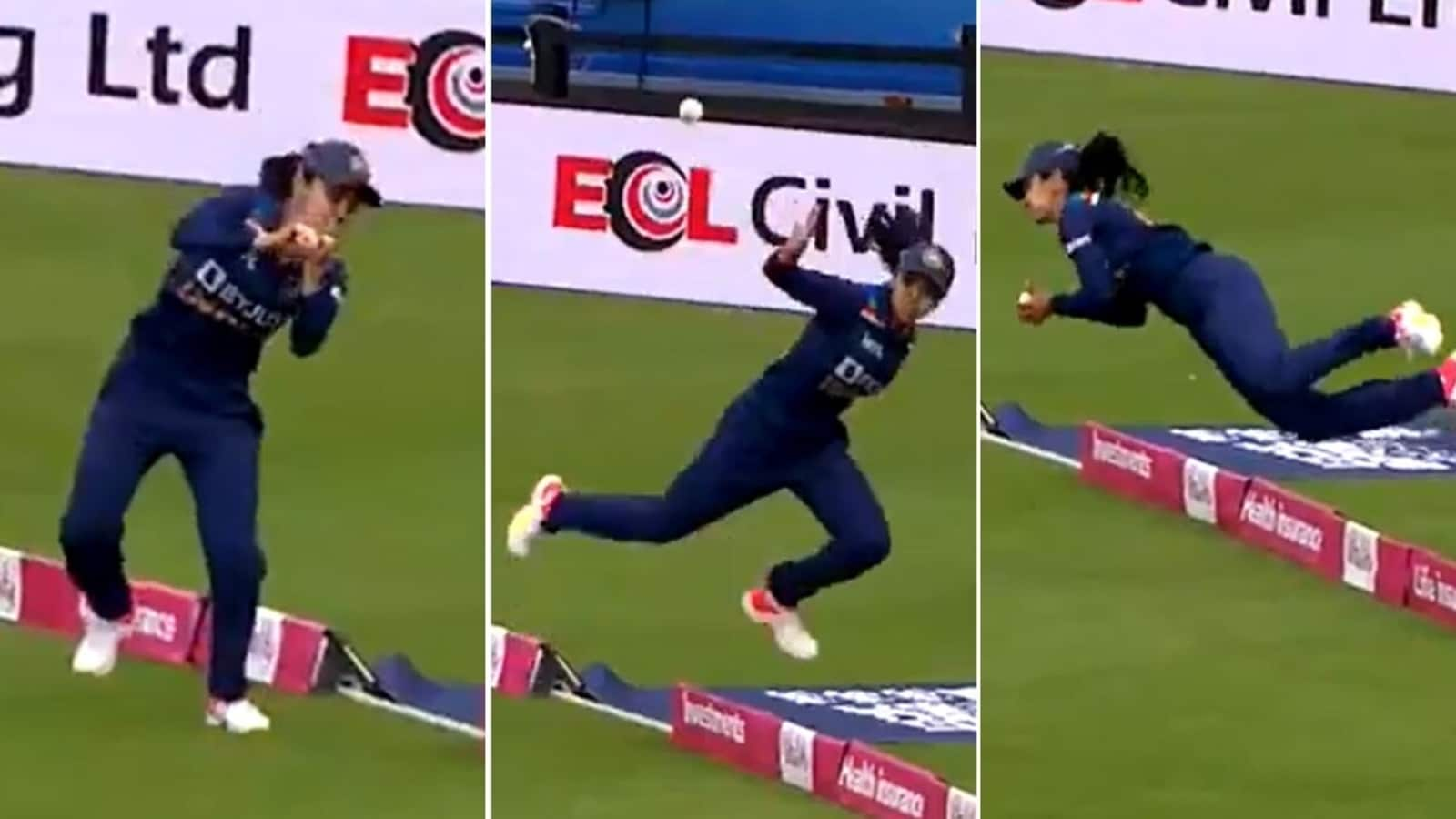 India's Harleen Deol takes one of the most jaw-dropping catches ever seen,  England player claps at her effort: Watch | Cricket - Hindustan Times