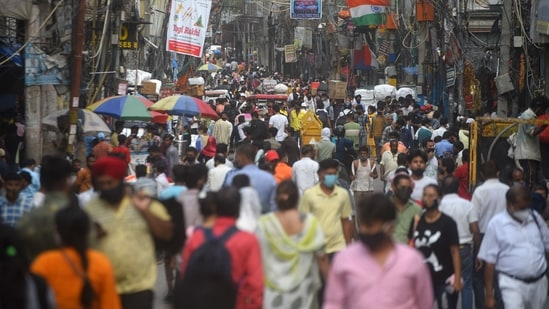 A rush of people at Sadar Bazar market in New Delhi, India, on Tuesday, July 6, 2021. (Photo by Amal KS/ Hindustan Times)