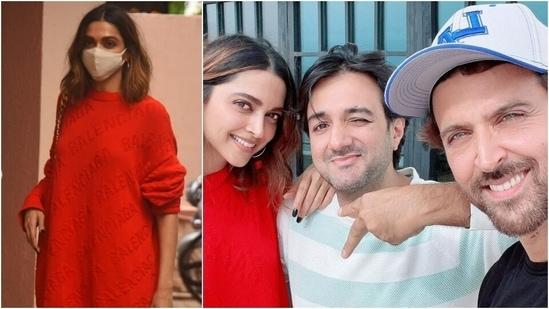 Deepika Padukone in <span class='webrupee'>₹</span>57k quirky sweater begins shooting Fighter with Hrithik Roshan(Varinder Chawla, Instagram/@hrithikroshan)