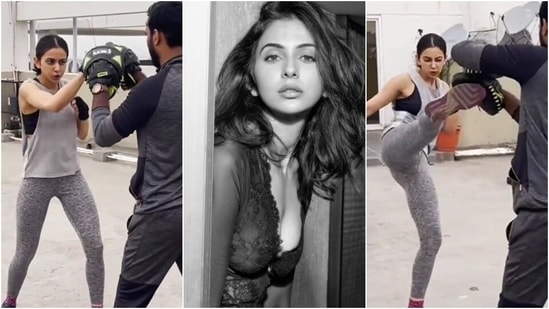 Rakul Preet throws punches and says don't give up glove up in new workout video(Instagram/@rakulpreet)