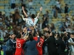 Argentina captain Lionel Messi lifted in the air by his teammates after winning the Copa America 2021 title.(Getty Images)