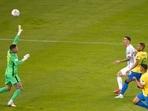 Angel Di Maria of Argentina scores against Brazil in the Copa America Final in Rio de Janeiro.(Getty Images)