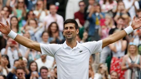 Serbia's Novak Djokovic celebrates winning his final match against Italy's Matteo Berrettini at Wimbledon.(REUTERS)