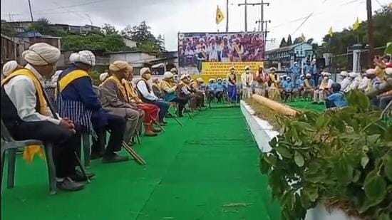 Priests and elders of Seiñ Raij consecrating the Sacred Log at Pohsawiar locality in Jowai in Meghalaya. Photo- Courtesy- MS S. POHTHMI