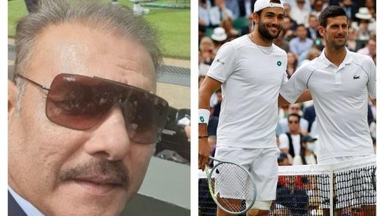 Ravi Shastri attends Wimbledon 2021 final.(Twitter/Reuters)
