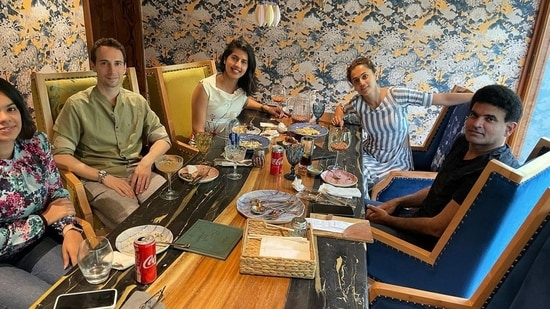 Taapsee Pannu and her boyfriend Mathias Boe spend his birthday lunch with her sister Shagun Pannu with their friends.