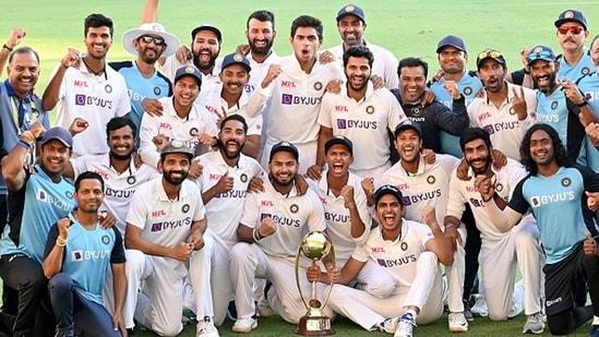 Team India celebrate the Border-Gavaskar trophy win in Australia(AP)