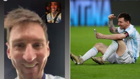 Messi on a video call with wife Antonela Roccuzzo after defeating Brazil in Copa America final(HT Collage)