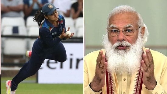 PM Narendra Modi (L) lauds Harleen Deol's (R) catch in the 1st T20I against England on Friday.(HT Collage)