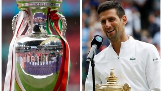 Euro 2020: Wimbledon 2021 winner Novak Djokovic (in frame) gave an epic response while predicting Italy vs England final winner.(HT Collage)