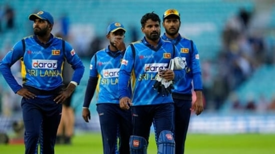 Sri Lanka's captain Kusal Perera with teammates.(AP/File)