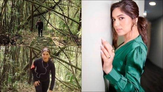 Bhumi Pednekar raises the bar of fitness goals, climbs 950 stairs non-stop through a bamboo forest(Instagram/thebodyandsoulproject/bhumipednekar)