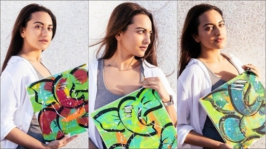 Sonakshi Sinha gives wings to her art hobby with Ganesha paintings in bold neon(Instagram/houseofcreativityofficial)