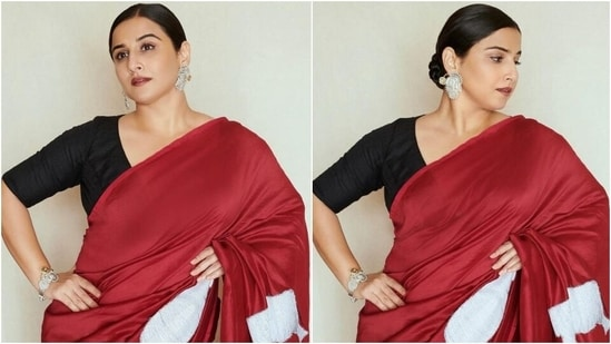 Sherni Vidya Balan paints the town a romantic red in elegant applique silk saree(Instagram/@who_wore_what_when)