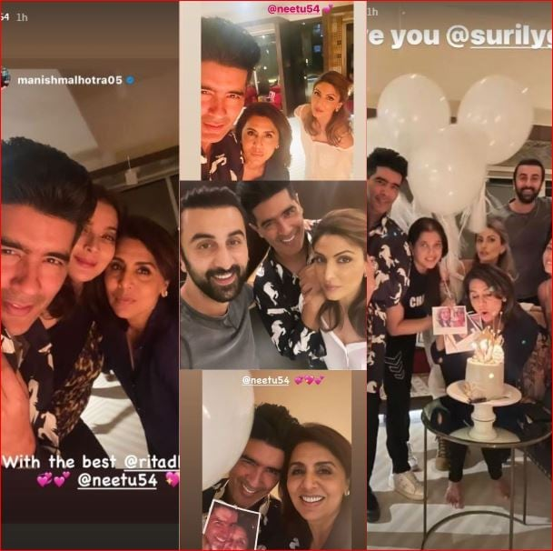 Neetu Kapoor with her friends and family.
