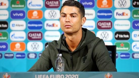 Portugal's Cristiano Ronaldo during the press conference.(Handout via REUTERS)