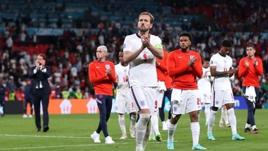 England's Harry Kane applauds fans after losing the penalty shootout(Pool via REUTERS)
