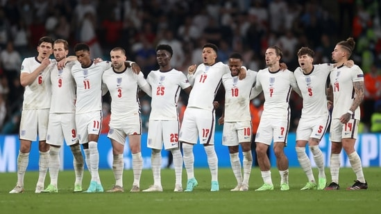 England players look on during a penalty shootout(Pool via REUTERS)
