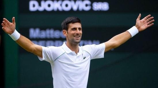 Serbia's Novak Djokovic celebrates after winning his final match against Italy's Matteo Berrettini.(Pool via REUTERS)