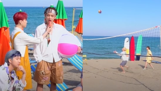 (L) BTS members RM, Jimin and V during Butter concept photo shoot, (R) J-Hope and Jin join Jimin and V for volleyball.