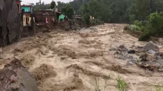 At least six houses were swept away due to flash floods caused from heavy rainfall in Himachal Pradesh's Kangra district. (ANI Photo)