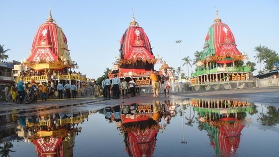 The chariots of the Hindu deities Balabhadra, Subhadra and Jagannath at the Gundicha temple during the annual Rath Yatra festival, in Puri. (Photo by Arabinda Mahapatra / Hindustan Times)