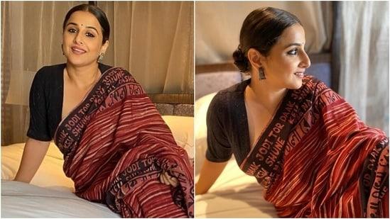 Vidya Balan says Ekla Cholo Re in <span class='webrupee'>₹</span>2k Rabindra Sangeet block print cotton saree(Instagram/@vidyabalan)